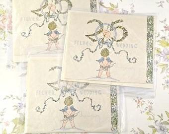 New Old Stock. 3 Vintage Silk Silver Anniversary Card. Blank Vintage Cards. Paper Ephemera. Unused Vintage Card Lot. Vintage Card Envelope