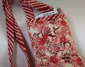 Open Top Pocket Easy Reach Cell Phone Red Quilted  Lanyard Wallet Organizer Tote