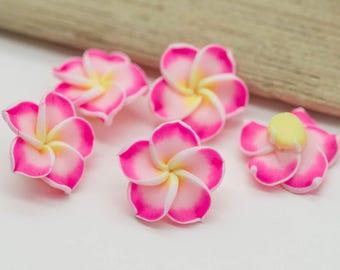 Pink Flower Beads, 10pcs, 20mm, Polymer Clay Flower, Hawaiian Flower -B422