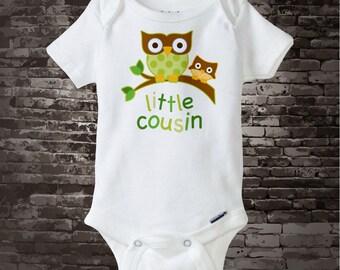 Little Cousin Shirt or Onesie Bodysuit Pregnancy Announcement, Gender Neutral Owl Big Cousin 03022015c