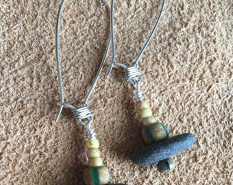 Rustic Earrings with small rocks and Czech glass beads, long ear wires