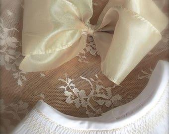 Satin Ribbon Handmade Bows Matching Monogram Sashes and  Dresses Juvie Moon Designs