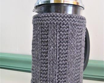 Steel Gray Rib Stripe Knit French Press Coffee Cozy