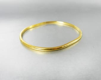 Vintage Monet Gold Oval Bangle Bracelet Minimalist Modern 70s Jewelry