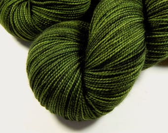 Hand Dyed Sock Yarn - Sock Weight Superwash Merino Wool Yarn - Moss Tonal - Knitting Yarn, Tonal Olive Green Yarn, Fingering Yarn, DIY Gift