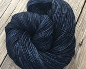 hand dyed sock yarn Davy Jones' Locker Dark Navy Blue Shawl Length Super Skein Superwash Merino Cashmere Nylon MCN 600 yards fingering