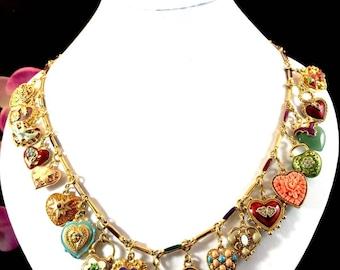 Vintage Joan Rivers Jewelry- Full Parure Enamel Hearts