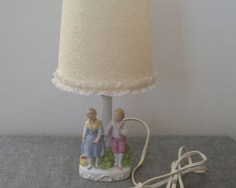 Vintage Figural Children Germany Lamp with Lace Shade