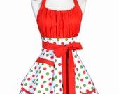 Flirty Chic Retro Apron - Womens Christmas Holiday Green Red Polka Dot Pinup Hostess Apron with Pocket (DP)