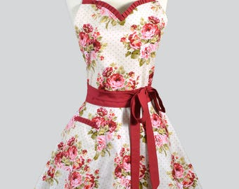 Sweetheart Pinup Womens Apron . Red Roses on Ivory Retro Vintage Style Old Fashioned Flirty Kitchen Cooking Apron with Fitted Bodice