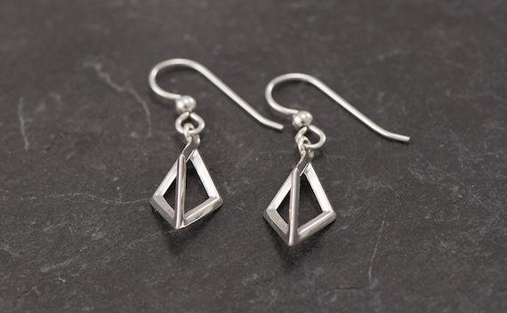 Silver Triangle Earrings- Sterling Silver Diamond Pyramid Earrings- Silver Dangle Earrings- Geometric Silver Earrings