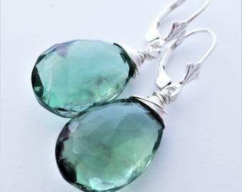 Green Fluorite Gemstone Sterling Silver Leverback Earrings EE Designs