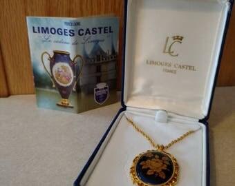 Vtg Limoges Castel France Cobalt Blue Porcelain Gold Rose Filigree Cameo Signed Pendant Necklace