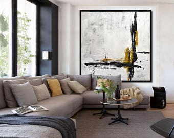 Original EXTRA LARGE 48 x 48 Abstract Painting Modern Minimal Art XXL Black and White Modern Abstract Acrylic Painting by Sky Whitman