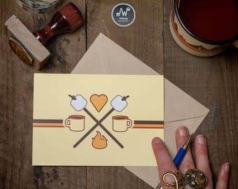 Valentines Adventure Anniversary Adventure Love Cards Camp Stationery Girl Retro Aesthetic Camp Marshmallows Camper Stationery Hot Chocolate