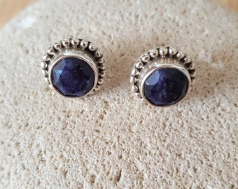New Listing Sale...Stunning Genuine Blue Sapphire Sterling Silver 925 Post Earrings. Sapphire  Earrings. Post Sapphire Earrings 925 Sterling