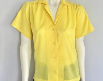 Vintage Women's 80's Yellow Blouse, Short Sleeve, Top by Teddi of California (M)