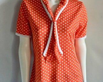 Vintage Women's 70's Red, White, Polka Dot, Blouse, Short Sleeve (M)