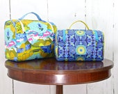 SAMPLE SALE - Set of 2 Lavender Cosmetic tote in Alison Glass Diving Board