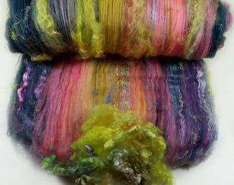 Pop Rocks Wild Card Bling Batt for spinning and felting (4.3 ounces), batt, art batt
