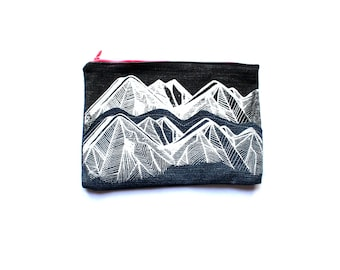 CHOOSE MOUNTAINS Zip Pouch, Travel Organizer, Clutch Pencil Case, Card Holder, Toiletries Travel Upcycled Small Pouch Mountains Pnw Denim