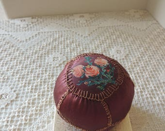 Collectible Hand Painted Flowers on Brown Pin Cushion. Vintage Puffy Hand Stitched Round Brown Satin Pin Cushion. Sewing Hobby Supplies.