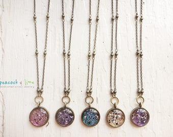 Cosmic Galaxy necklace // sparkly star jewelry // space universe  // astronomy // starry night sky // dainty sparkle//hippie bohemian style