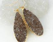 Gold Espresso Brown Druzy Teardrop Earrings - Statement Earrings - 14Kt Gold Filled, Last Pair