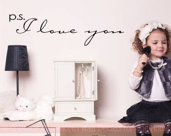 P.S. I Love You Vinyl Lettering Decals Wall Stickers Bedroom Nursery Decor Quote