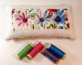 Large Pincushion- My Big Garden PIncushion, patchwork, double sided, with 4 decorative pins- Ready to Ship