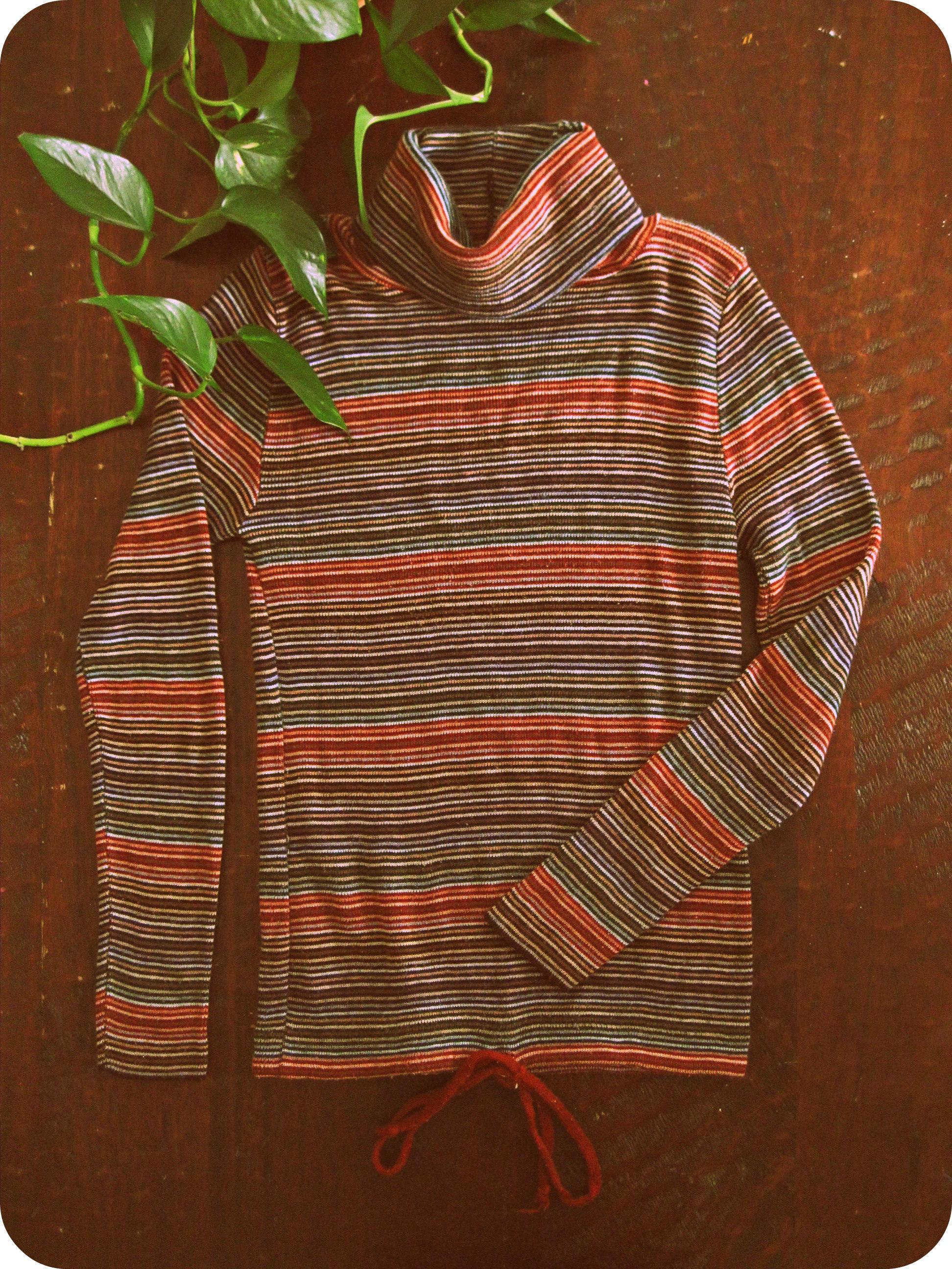 Vintage 70s Striped Turtleneck Sweater Stretchy Knit Boho Hippie