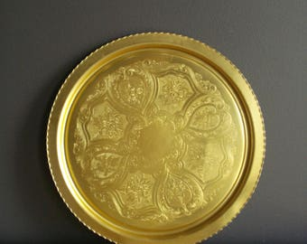 Vintage Gold Tray - Large Round Platter or Serving Tray - Goldtoned Tray
