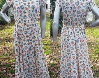 80s Dress, Feminine Dress, Vintage Dress, Floral Dress, Print Dress, Belted Dress, Gift For Her, Liz Claiborne, Spring Dress, Easter