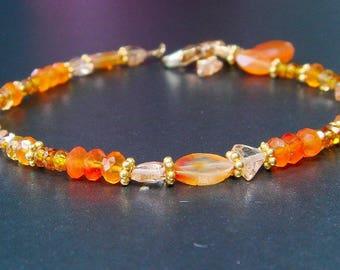Carnelian, Citrine, Fire Opal, Gold Bracelet, Firey Autumn Shades Multi Gemstone, Indian Summer, Gold Layering Bracelet, Fall Jewelry