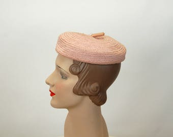 1940s hat straw hat pink hat woven straw hat beanie beret hat New York Creation