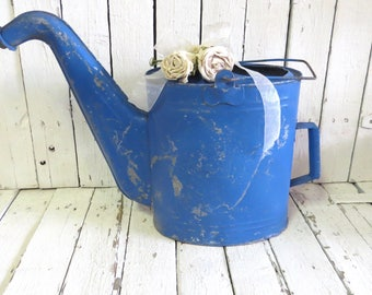 Old Watering Can, Large Blue Watering Can, Garden Planter, Metal Rustic Can, Cottage Decor, Farmhouse, Country Kitchen, Blue Rustic Decor