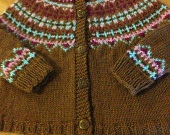 Fair Isle Cardigan Sweater, Child Sweater Size 2, Girl Sweater Size 4, Icelandic Fair Isle Sweater, Fair Isle Sweater, Brown Sweater