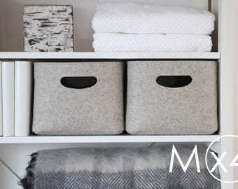 Medium Size, Set of 4 / Custom-made Felt Storage Basket / Storage Box for a Shelf