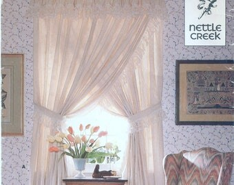Ruffled Priscilla Curtains, Valance, Lace Trim Sewing Pattern Butterick 449 UNCUT, Bishop Sleeve, Puffed Valance Curtains, Crisscross Drapes