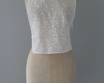 White lace plastron with bow collar    1950's by cubevintage   extrasmall to medium