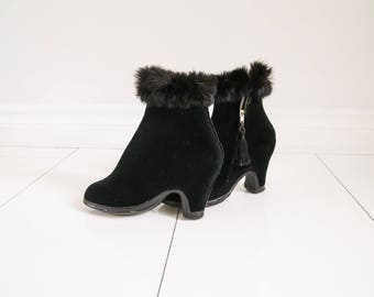 Parkay, Velvet & Rabbit Fur, Ladies Galoshes - Sz 5 - 6.5
