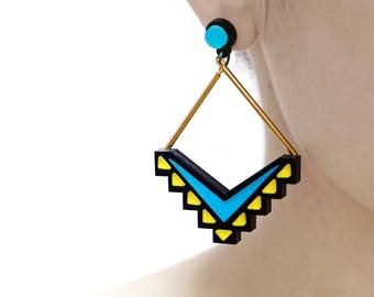 20% off - 2pcs (1 Pairs) Laser Cut Acrylic Bohemia Geometry Earring Jewelry (AGE10) Geometry Series