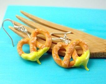 Food Jewelry // Pretzel Earrings // MADE TO ORDER Miniature Food Earrings // Dangly or Clip On Earrings