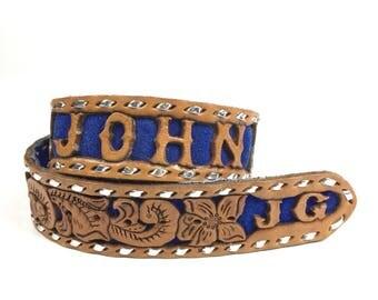 Vintage Tooled Floral Leather Belt JOHN