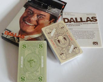 1 Vintage 1980 DALLAS Card Game - 80s Larry Hagman Collectible, Scrap booking Card Making Mixed Media Art Craft Supply, Dallas TV Show Gift