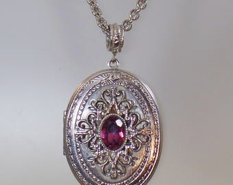 Vintage Large Silver Locket Necklace.  Whiting and Davis Intricate Purple Amethyst Glass Pendant Necklace.