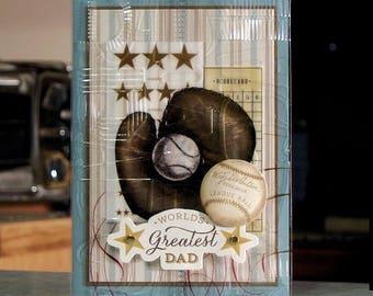 "Handmade World's Greatest Dad Birthday - 5"" x 7"" - Anna Griffin Embossed Acetate Layer Vintage Glove & Baseball"