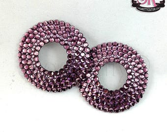 SAMPLE SALE Round  Peek-A-Boo Rhinestone Nipple Pasties - Size M - SugarKitty Couture