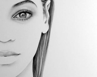 Beyonce Minimalism Original Pencil Drawing Fine Art Portrait