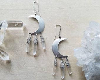 Silver Quartz Crystal Wand  Crescent Moon // Tiny Quartz Crystals Wand Moon Beams // Celestial // Earrings
